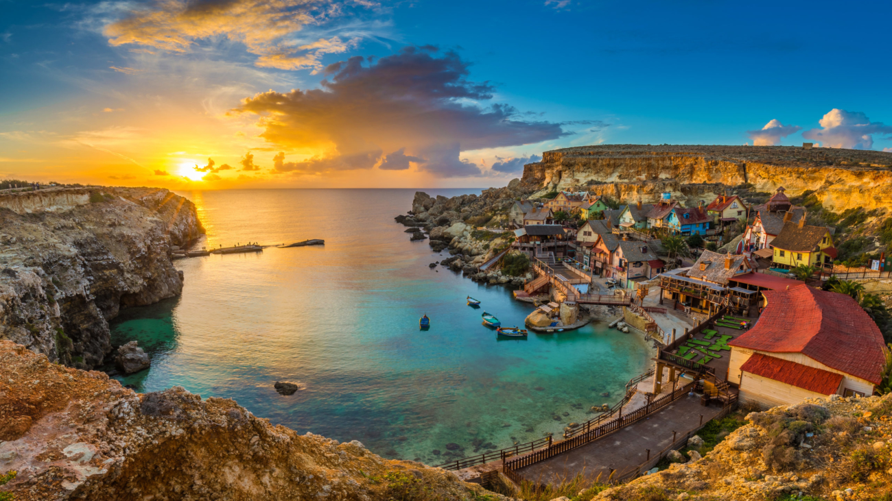 Il-mellieha,,Malta,-,Panoramic,Skyline,View,Of,The,Famous,Popeye